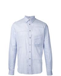Мужская голубая рубашка с длинным рукавом в вертикальную полоску от Forme D'expression