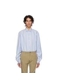 Мужская голубая рубашка с длинным рукавом в вертикальную полоску от Gucci