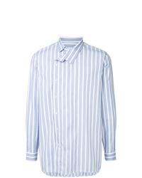 Мужская голубая рубашка с длинным рукавом в вертикальную полоску от Jil Sander
