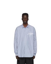Мужская голубая рубашка с длинным рукавом в вертикальную полоску от Juun.J