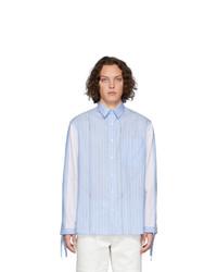 Мужская голубая рубашка с длинным рукавом в вертикальную полоску от JW Anderson