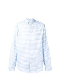 Мужская голубая рубашка с длинным рукавом в вертикальную полоску от Natural Selection