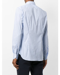 Мужская голубая рубашка с длинным рукавом в вертикальную полоску от Xacus