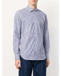 Мужская голубая рубашка с длинным рукавом в вертикальную полоску от Corneliani