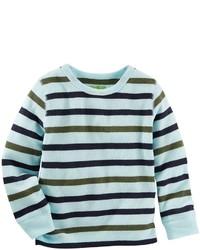 Голубая рубашка с длинным рукавом в горизонтальную полоску