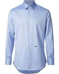 Голубая рубашка с длинным рукавом в горошек