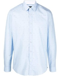 Мужская голубая рубашка с длинным рукавом в горошек от BOSS