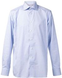 Голубая рубашка с длинным рукавом в клетку