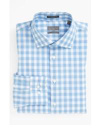 Голубая рубашка с длинным рукавом в мелкую клетку