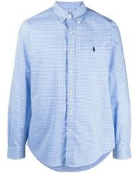 Мужская голубая рубашка с длинным рукавом в мелкую клетку от Polo Ralph Lauren