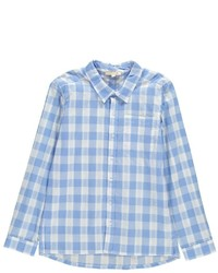 Голубая рубашка с длинным рукавом в шотландскую клетку