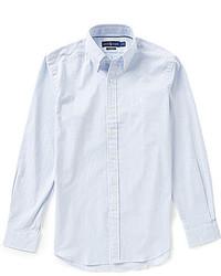 Голубая рубашка с длинным рукавом из жатого хлопка