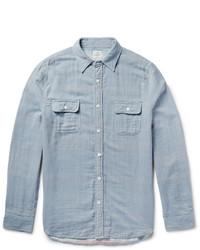 Голубая рубашка с длинным рукавом из шамбре в вертикальную полоску