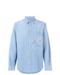 Мужская голубая рубашка с длинным рукавом из шамбре с вышивкой от Ermanno Scervino