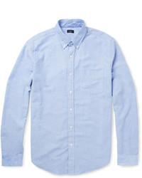 Голубая рубашка с длинным рукавом из шамбре