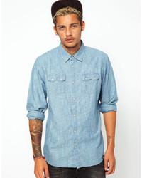 Мужская голубая рубашка с длинным рукавом из шамбре от 55dsl