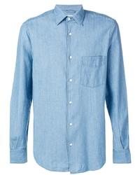 Мужская голубая рубашка с длинным рукавом из шамбре от Aspesi