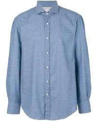 Мужская голубая рубашка с длинным рукавом из шамбре от Brunello Cucinelli