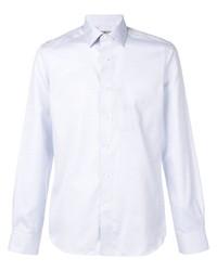 Мужская голубая рубашка с длинным рукавом из шамбре от Canali