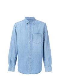 Мужская голубая рубашка с длинным рукавом из шамбре от Ermanno Scervino