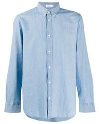Мужская голубая рубашка с длинным рукавом из шамбре от Filippa K