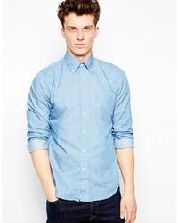 Мужская голубая рубашка с длинным рукавом из шамбре от GANT RUGGER