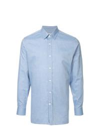 Мужская голубая рубашка с длинным рукавом из шамбре от Gieves & Hawkes