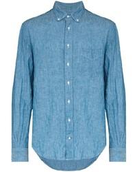 Мужская голубая рубашка с длинным рукавом из шамбре от Gitman Vintage