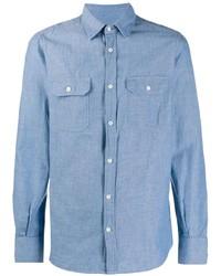 Мужская голубая рубашка с длинным рукавом из шамбре от Glanshirt