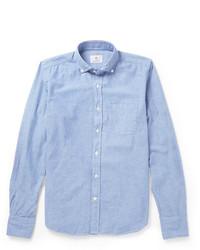 Мужская голубая рубашка с длинным рукавом из шамбре от Incotex