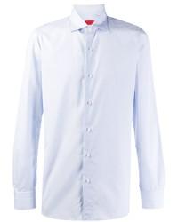 Мужская голубая рубашка с длинным рукавом из шамбре от Isaia