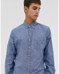 Мужская голубая рубашка с длинным рукавом из шамбре от J.Crew Mercantile