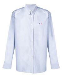 Мужская голубая рубашка с длинным рукавом из шамбре от MAISON KITSUNÉ