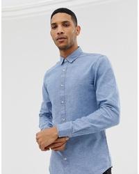 Мужская голубая рубашка с длинным рукавом из шамбре от ONLY & SONS