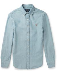 Мужская голубая рубашка с длинным рукавом из шамбре от Polo Ralph Lauren