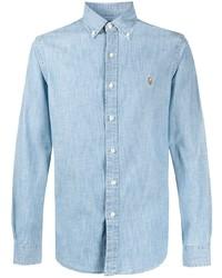 Мужская голубая рубашка с длинным рукавом из шамбре от Ralph Lauren