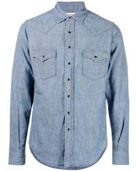 Мужская голубая рубашка с длинным рукавом из шамбре от Saint Laurent