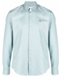Мужская голубая рубашка с длинным рукавом из шамбре от Sandro Paris