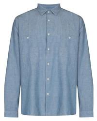 Мужская голубая рубашка с длинным рукавом из шамбре от Sunspel