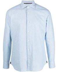 Мужская голубая рубашка с длинным рукавом из шамбре от Tintoria Mattei
