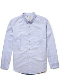 Мужская голубая рубашка с длинным рукавом из шамбре от VISVIM
