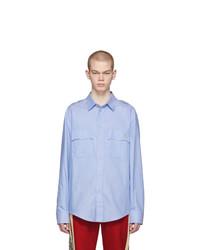 Мужская голубая рубашка с длинным рукавом с вышивкой от Gucci