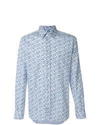 Голубая рубашка с длинным рукавом с принтом
