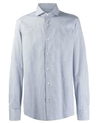 Мужская голубая рубашка с длинным рукавом с принтом от BOSS HUGO BOSS