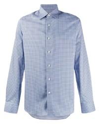 Мужская голубая рубашка с длинным рукавом с принтом от Canali
