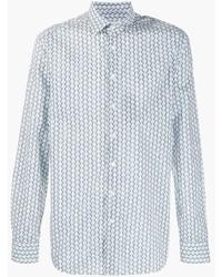 Мужская голубая рубашка с длинным рукавом с принтом от Etro