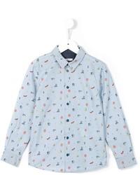Детская голубая рубашка с длинным рукавом с принтом для мальчику от Paul Smith