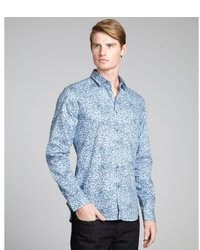 Голубая рубашка с длинным рукавом с цветочным принтом