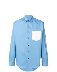 Мужская голубая рубашка с длинным рукавом от AMI Alexandre Mattiussi