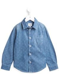 Детская голубая рубашка с длинным рукавом для мальчику от Armani Junior